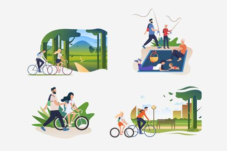 Active family weekend illustration set. People riding bikes outdoors, hiking, fishing, enjoying picnic. Activity concept. Vector illustration for posters, banners, flyers