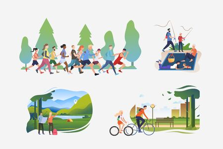 Active hobby illustration collection. People running marathon, hiking to camp, riding bikes in city. Activity concept. Vector illustration for posters, banners, flyers