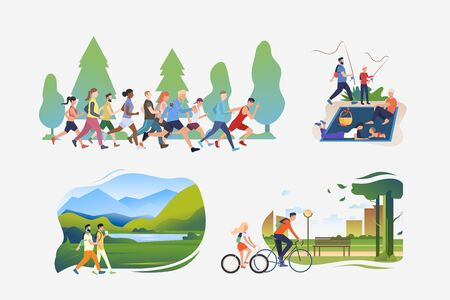 Active lifestyle illustration collection. People running in crowd, hiking, fishing, riding bikes. Activity concept. Vector illustration for posters, banners, flyers  イラスト・ベクター素材