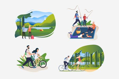 Active lifestyle illustration set. People riding bikes outdoors, hiking to camp, fishing, enjoying picnic. Activity concept. Vector illustration for posters, banners, flyers