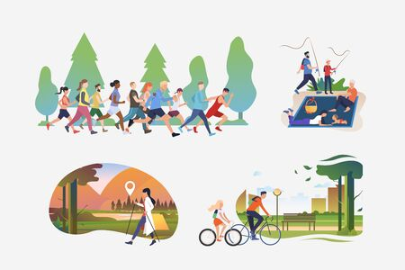 Active people illustration collection. People running marathon, hiking, enjoying picnic, riding bikes in city. Activity concept. Vector illustration for posters, banners, flyers  イラスト・ベクター素材