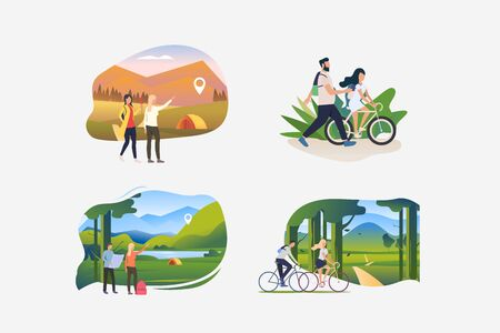 Hiking illustration collection. People riding bikes outdoors, trekking to camp, hiking. Activity concept. Vector illustration for posters, banners, flyers Ilustracja