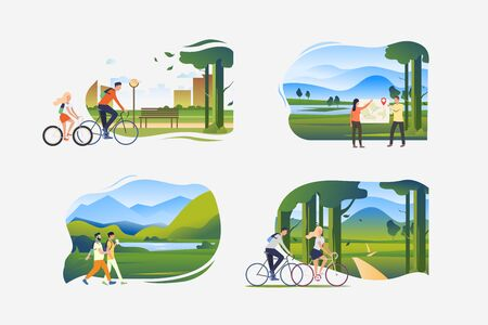 Outdoor activities illustration set. People walking outdoors, riding bikes, trekking. Activity concept. Vector illustration for posters, banners, flyers Ilustracja