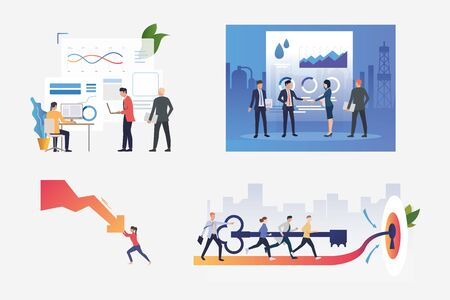 Set of businesspeople illustrations. People shaking hands, stopping decrease chart arrow, inserting key to lock together. Business concept. Vector illustration for banners, layouts, website design