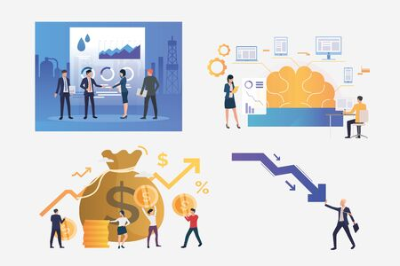 Set of crisis management illustrations. Businesspeople shaking hands, trading on stock, stopping decrease chart. Business concept. Vector illustration for banners, layouts, website design Banco de Imagens - 132110890