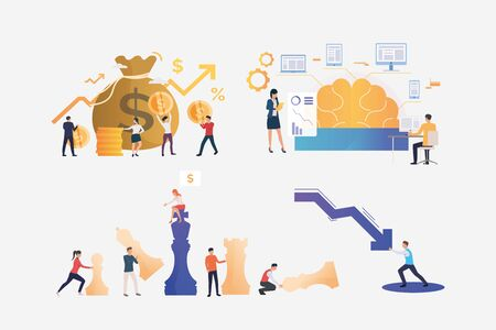 Set of finance management illustrations. People carrying money to sack, stopping decrease chart arrow, playing chess. Business concept. Vector illustration for posters, presentations, landing pages