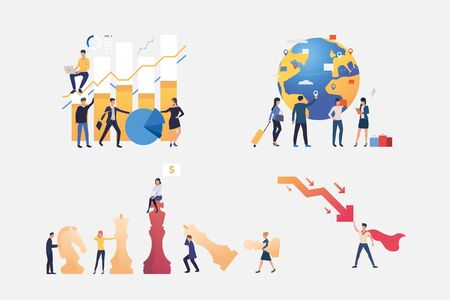 Effective team illustration set. People constructing chart, travelling, stopping crisis, playing chess. Business concept. Vector illustration for posters, presentations, landing pages