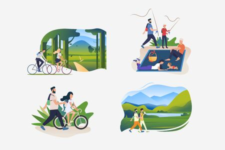 Family weekend outdoors illustration set. People riding bikes outdoors, hiking, fishing, enjoying picnic. Activity concept. Vector illustration for posters, banners, flyers