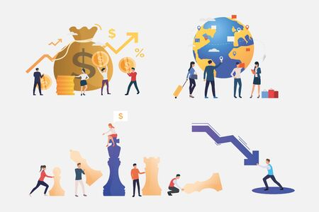 Finance management illustration set. People investing money, travelling, stopping crisis, playing chess. Business concept. Vector illustration for banners, layouts, website design