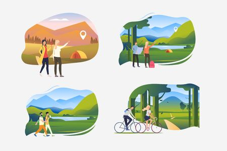 Outdoor tourism illustration set. People pointing at camping, traveling on foot or by bike. Activity concept. Vector illustration for posters, banners, flyers Ilustracja