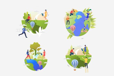 Planet care illustration collection. People planting trees, watering plants, camping. Lifestyle concept. Vector illustration for posters, banners, flyers