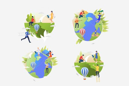 Planet care illustration set. People planting trees, watering plants, camping. Lifestyle concept. Vector illustration for posters, banners, flyers 向量圖像