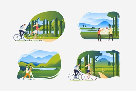 Adventure tourism illustration set. People riding bikes in park, walking outdoors, hiking, trekking. Activity concept. Vector illustration for posters, banners, flyers