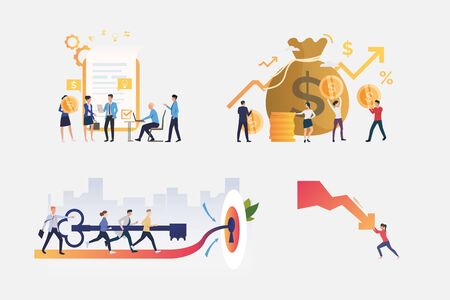 Project management illustration set. Businesspeople signing contract, stopping graph arrow falling down. Business concept. Vector illustration for posters, presentations, landing pages Illusztráció