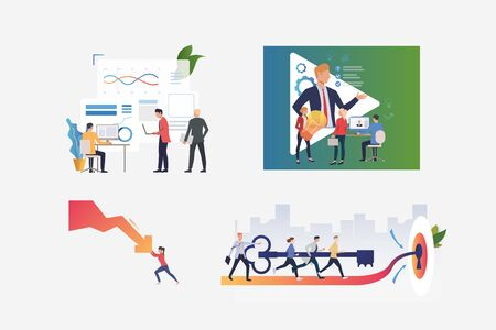 Startup management illustration set. People holding lightbulb, managing crisis, inserting key to lock together. Business concept. Vector illustration for posters, presentations, landing pages