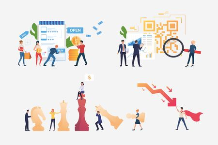 Successful managers illustration set. People buying goods in internet store, stopping crisis, playing chess. Business concept. Vector illustration for banners, layouts, website design