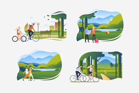 Summer outdoor activity illustration set. People pointing at camping, riding bikes, walking outdoors with backpacks. Activity concept. Vector illustration for posters, banners, flyers