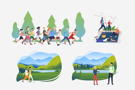 Summer sport and activity illustration set. People running in crowd, hiking, fishing, enjoying picnic. Activity concept. Vector illustration for posters, banners, flyers  イラスト・ベクター素材