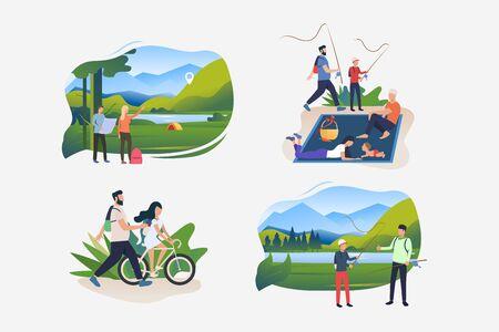 Sommerwochenende-Illustrationssatz. Leute, die draußen Fahrrad fahren, zum Camp wandern, angeln, Picknick genießen. Aktivitätskonzept. Vektorillustration für Poster, Banner, Flyer