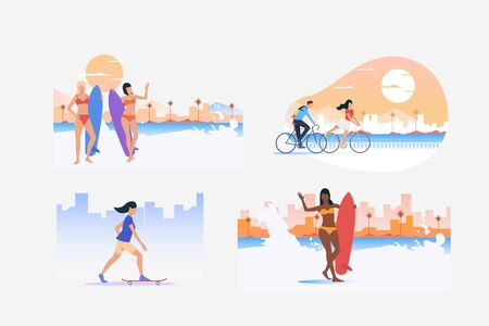 Vacation activities illustration set. People riding bikes, skateboarding, surfing. Activity concept. Vector illustration for posters, banners, flyers