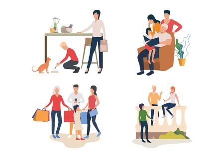 Family weekend illustration set. Men, women, children feeding cat, reading book together, doing shopping. Family concept. Vector illustration for posters, presentations, landing pages Banco de Imagens - 132111021