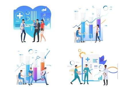 Medical professionals illustration set. Doctors talking to patients, doing lab research, discussing medical history. Medicine concept. Vector illustration for posters, presentations, landing pages