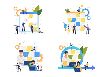 Planning board illustration set. Employees sticking paper notes on Kanban board, working on laptop or desktop. Office concept. Vector illustration for posters, presentations, landing pages