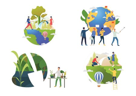 Planting illustration set. People watering plants outdoors, caring about home plants, setting pointers on globe. Nature concept. Vector illustration for posters, presentations, landing pages 向量圖像