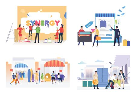 Sale illustration set. People painting word Synergy, buying items at garage sales. Shopping concept. Vector illustration for posters, presentations, landing pages