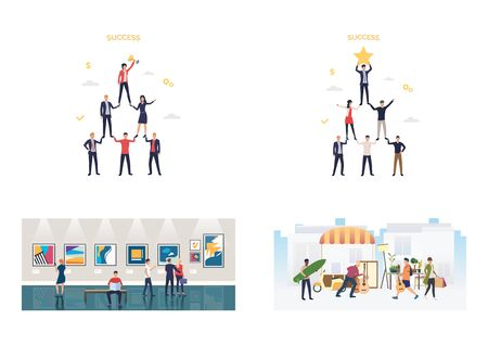 Success pyramids illustration set. Team winning award, watching artworks in gallery, carrying guitars. People activity concept. Vector illustration for posters, presentations, landing pages