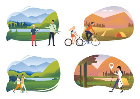 Weekend outdoors illustration set. People enjoying fishing, riding bikes, Nordic walking, hiking. Activity concept. Vector illustration for posters, banners, flyers
