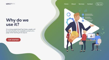Boss setting objectives to team. Idea, aims, laptop. Efficiency concept. Vector illustration can be used for topics like business, work, time management