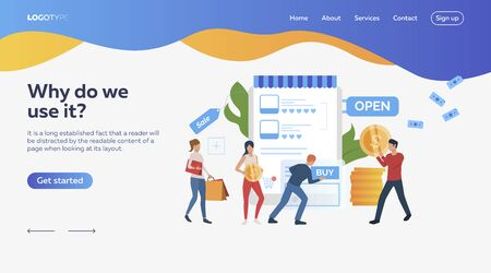 People buying online. Shopping, internet, sale. Online shopping concept. Vector illustration can be used for topics like business, work, time management