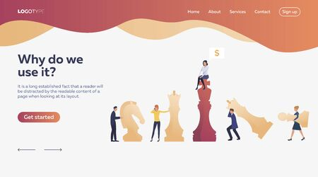 Workers playing chess. Chessman, money, bargain. Efficiency concept. Vector illustration can be used for topics like business, work, time management Çizim