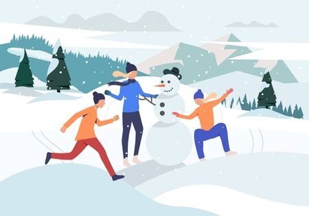 People making snowman webpage. Teen, snow, mountain. Activity concept. Vector illustration for topics like winter, vacation, holiday