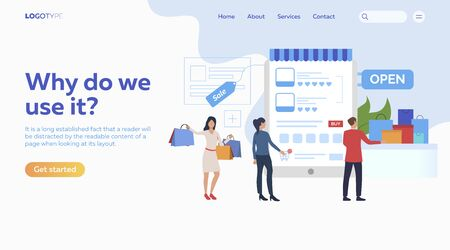 Buying goods online. Internet store, shopping, text sample. Ecommerce concept. Vector illustration for presentation, landing pages, website homepages