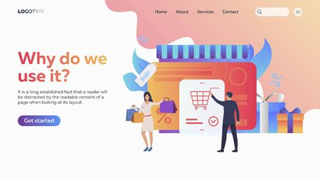People buying online. Internet store, shopping, discount, sale, text sample. Ecommerce concept. Vector illustration for presentation, landing pages, website homepages
