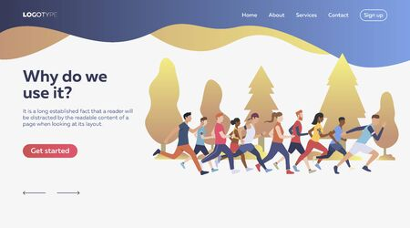 Group of people running. Jogging, forest, health. Sport concept. Vector illustration for webpage, presentation, poster