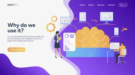 Man and woman analyzing efficiency. Brain, devices, infographics. Efficiency concept. Vector illustration can be used for topics like business, work, time management Çizim