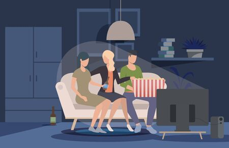 Friends watching movie at home webpage. People sitting on couch at TV, eating pop corn, drinking beer. Leisure concept. Vector illustration for topics like meeting, friendship, party Ilustracja