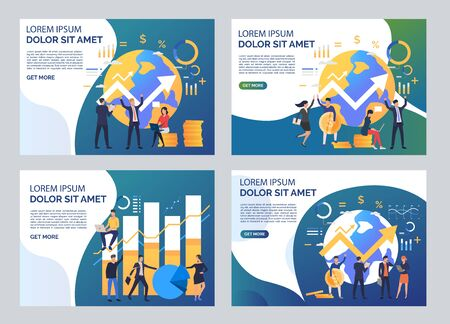 Analysis and growth illustration set. Men and women constructing graphs. Business concept. Vector illustration for topics like finance, success, marketing
