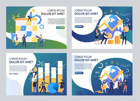 Analysis and planning illustration set. Men and women sticking notes on planning board. Business concept. Vector illustration for topics like finance, success, marketing