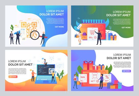 Commerce and sale illustration set. People doing shopping, buying at sale, scanning QR code. Business concept. Vector illustration for landing pages, presentation slide templates Illustration