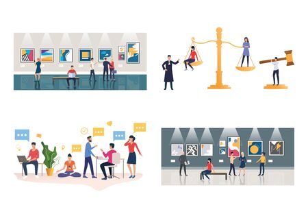 Art galleries illustration set. People visiting exhibition, looking at abstract artworks, using devices. Art concept. Vector illustration for landing pages, presentation slide templates
