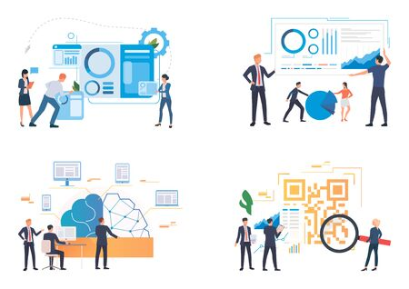 Business team analyzing reports illustration set. People studying charts, diagrams, infographics. Business concept. Vector illustration for landing pages, presentation slide templates
