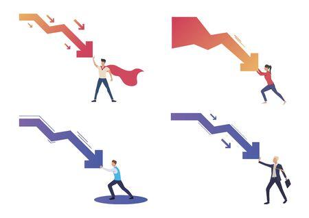 Crisis management illustration set. People stopping arrow falling down, resisting decrease chart. Business concept. Vector illustration for landing pages, presentation slide templates