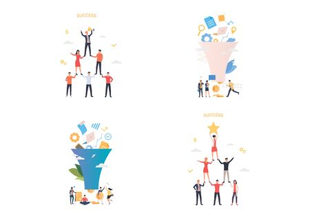 Data filter and success illustration set. People forming pyramid, winning prize. Business concept. Vector illustration for landing pages, presentation slide templates