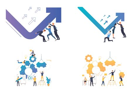 Dealing with crisis illustration set. Business team turning up decrease chart arrow, building gears. Business concept. Vector illustration for landing pages, presentation slide templates