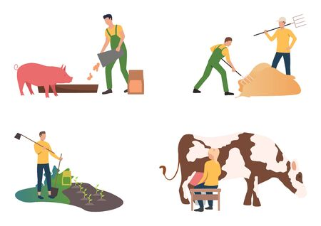 Farming illustration set. Farmer feeding pig, planting out seedling, gathering hay, milking cow. Agriculture concept. Vector illustration for landing pages, presentation slide templates