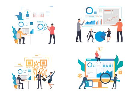 Marketing analysis illustration set. Professionals analyzing graph, chart, diagram, report. Business concept. Vector illustration for landing pages, presentation slide templates